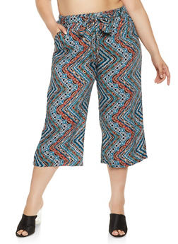 Plus Size Printed Cropped Palazzo Pants - 0861038349235