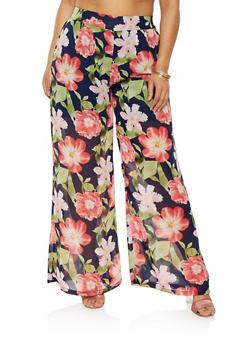 Plus Size Floral Palazzo Pants - 0861074280322