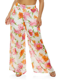 Plus Size Sheer Floral Palazzo Pants - 0861074280323