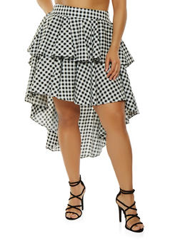 Plus Size Ruffled Gingham High Low Skirt - 0862074280533