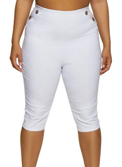 Plus Size Button Detail Stretch Capris - 0865020626467