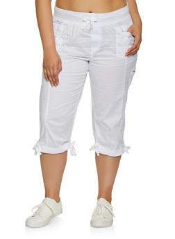 Plus Size Tie Cuff Capris - 0865038340207