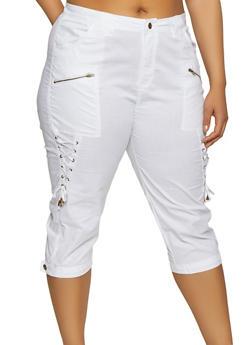 Plus Size Lace Up Capri Pants - 0865038342920