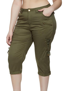 Plus Size Lace Up Capri Pants - 0865038342920