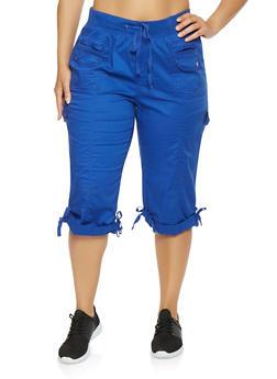Plus Size Cargo Capri Pants - 0865038349203