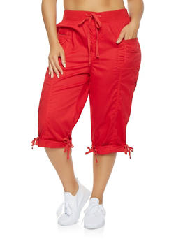 Plus Size Cargo Capri Pants - 0865038349203