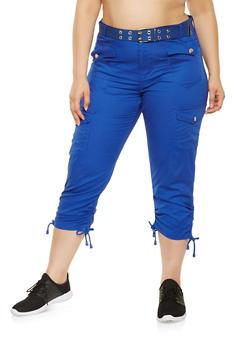 Plus Size Belted Cargo Capri Pants - 0865038349204