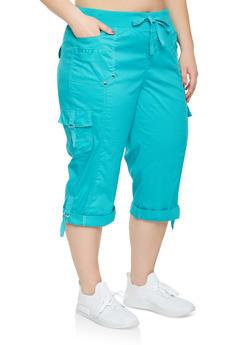 Plus Size Cargo Capri Pants - 0865038349206
