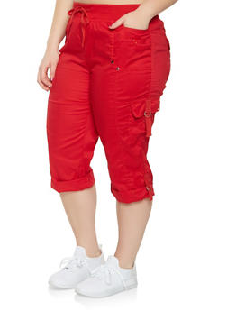 Plus Size Cargo Capri Pants - 0865038349206