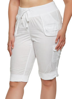 Plus Size Tabbed Cargo Capri Pants - 0865038349208