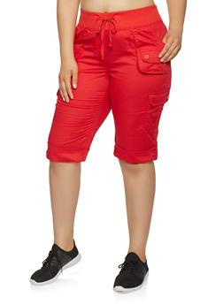Plus Size Tabbed Cargo Capri Pants - 0865038349208