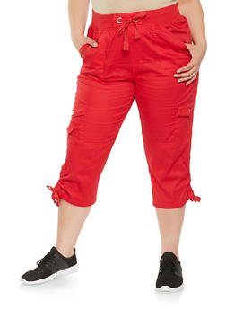 Plus Size Drawstring Side Cargo Capri Pants - 0865038349213