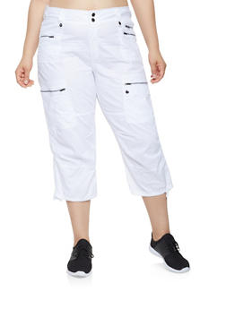 Plus Size Cargo Capri Pants - 0865038349219