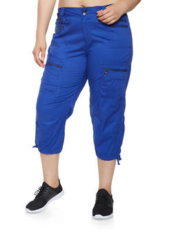 Plus Size Cargo Capri Pants - 0865038349219