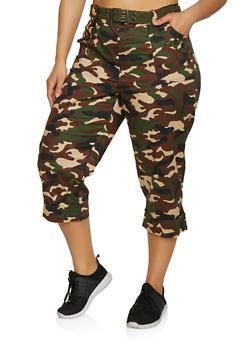 Plus Size Camo Cargo Capri Pants | 0865038349247 - 0865038349247