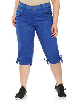 Plus Size Tie Hem Cargo Capri Pants - 0865038349291