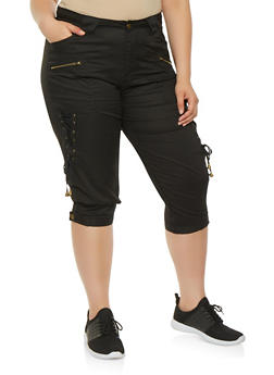 Plus Size Lace Up Side Cargo Capri Pants - 0865038349292