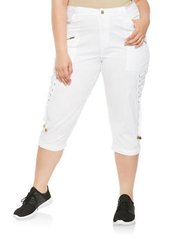 Plus Size Lace Up Side Cargo Capri Pants - 0865038349292