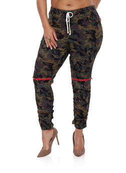 Plus Size Camo Moto Jeggings - 0865056572245