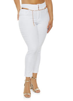 Plus Size Belted Hyperstretch Pants - 0865056572262