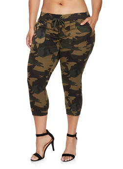 Plus Size Cropped Camo Joggers - 0865062703223