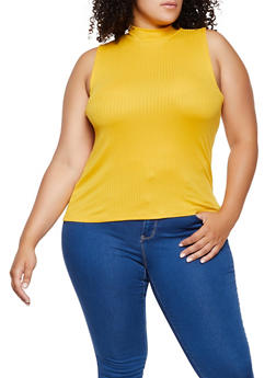 Plus Size Ribbed Tank Top - 0910001448801