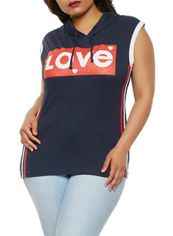 Plus Size Love Graphic Hooded Top - 0910033870055