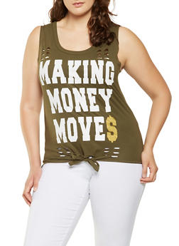 Plus Size Distressed Graphic Tank Top - 0910033871126