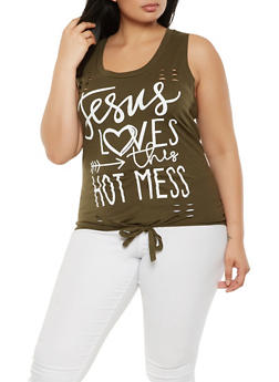 Plus Size Graphic Tie Front Tank Top - 0910033871128