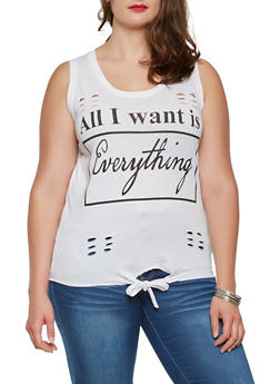 Plus Size Graphic Tie Front Tank Top - WHITE - 0910033871129
