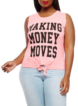 Plus Size Making Money Moves Graphic Tank Top - 0910033871198
