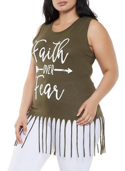 Plus Size Graphic Fringe Tank Top - 0910033871745