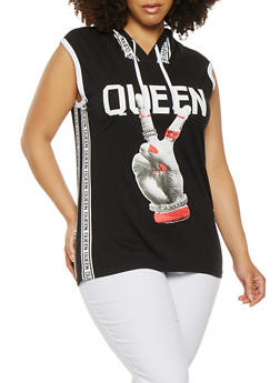Plus Size Graphic Hooded Tank Top - 0910033874466