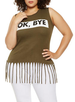 Plus Size Graphic Fringe Tank Top - 0910033875588