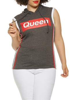 Plus Size Queen Graphic Hooded Tank Top - 0910033876003