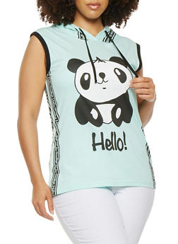 Plus Size Panda Graphic Hooded Tank Top - 0910033879145