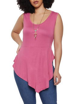 7e196d60194 Plus Size Asymmetrical Hem Top with Necklace - 0910038343250