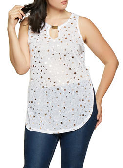 4e262cdf128 Plus Size Star Foil Print Knit Top - 0910038349380