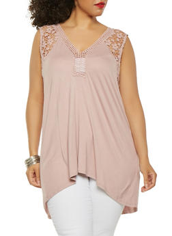 Plus Size Crochet Detail Tank Top - 0910051066151