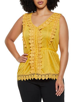 Plus Size Sleeveless Crochet Trim Button Front Top - 0910051066979