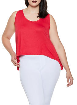 Plus Size Split Back Tank Top - Red - Size 2X - 0910054260495