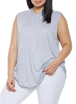 Plus Size Hooded Tank Top - 0910054260515