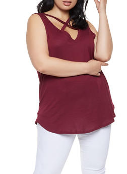 Plus Size Caged Tank Top - 0910054260586