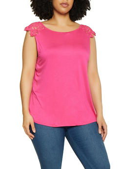 Plus Size Crochet Cap Sleeve Top - 0910054261328