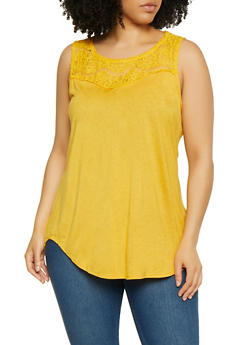 Plus Size Lace Yoke Top - 0910054265877