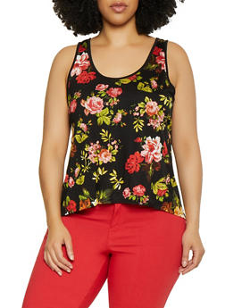 Plus Size Floral Split Back Sleeveless Top - 0910054268133