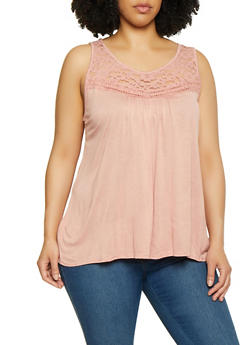 Plus Size Lace Yoke Sleeveless Top | 0910054268340 - 0910054268340