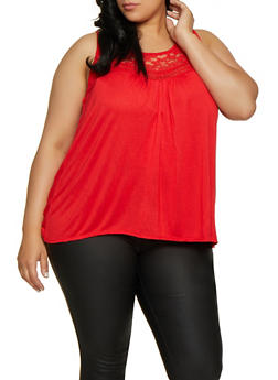 Plus Size Lace Yoke Sleeveless Top | 0910054268340 - Red - Size 2X - 0910054268340