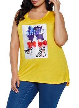Plus Size Smile Patch Tank Top - 0910058751144