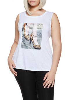Plus Size Leopard Shoe Patch Tank Top - 0910058751150